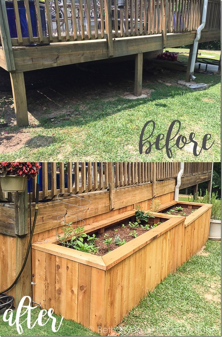 Backyard landscaping with raised garden beds- what a great idea to enclose the underside of a porch!