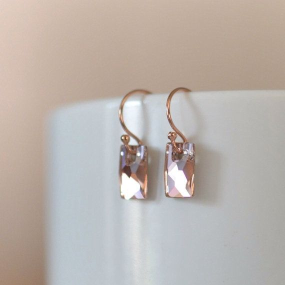 Rose Gold Earrings Pink Swarovski Crystal Mirror Silver Foil