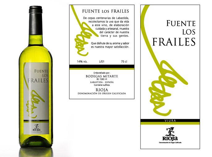 """Diseño de etiqueta de vino blanco """"Fuente Los Frailes""""."""