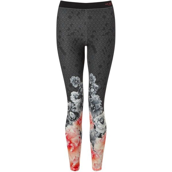 Ted Baker Leggia Monorose Sports Leggings, Multi ($125) ❤ liked on Polyvore featuring activewear, activewear pants, yoga activewear, sports activewear and ted baker
