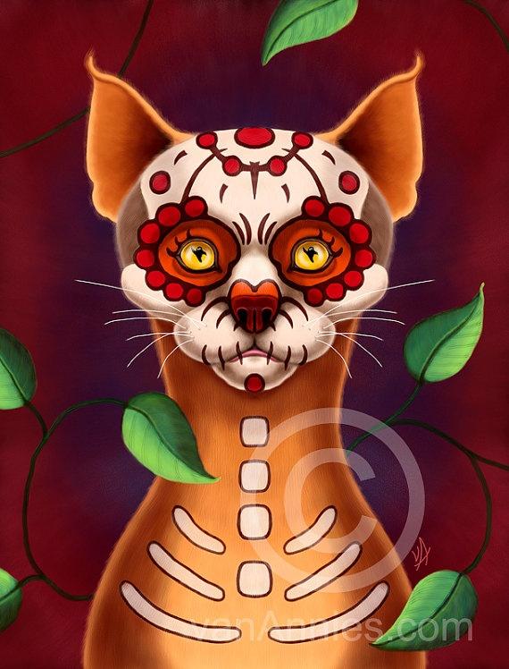 Dulce Gato Sugar Skull Cat Fine Art Print by vanAnnies