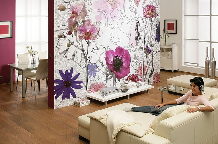 Komar Brewster S-8-887 12-Foot 1-Inch by 8-Foot 4-Inch Wall Mural with Accents and Paste, Purple, Wall Stickers & Murals - Amazon Canada