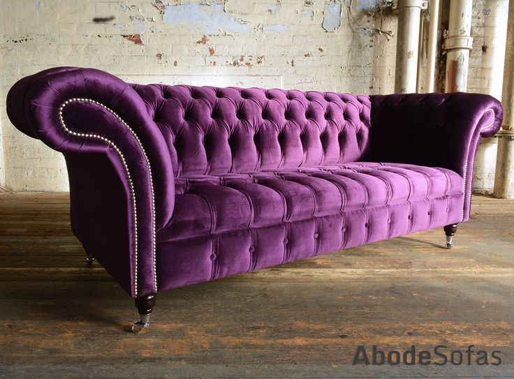 Modern British Handmade Geneva Deep Buttoned Chesterfield #Sofa, Shown In A  Plush Grape Smooth