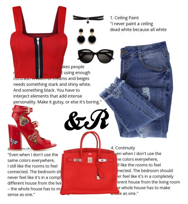 """""""Another Rad in Red!"""" by stylebydnr on Polyvore featuring Essie, Hermès, Laurence Dacade, Fallon and WearAll"""