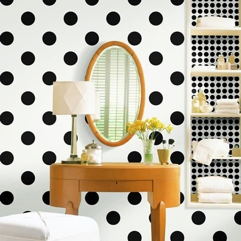 polka dot wall, buuuuut look at how cute the black dots are