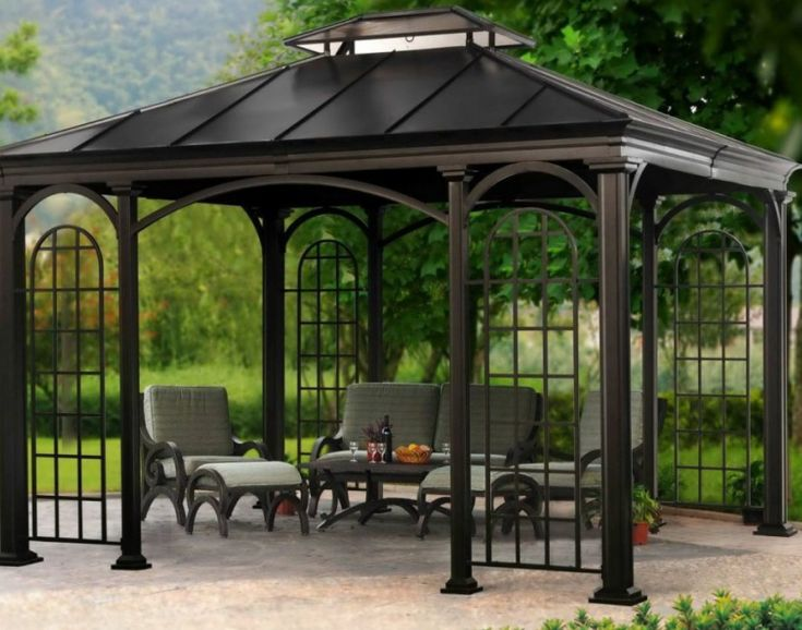 pergola:Wonderful Steel Gazebo Kits Wonderful Gazebo Accessories Wonderful Steel Gazebo Kits Exquisite Gazebo Canopy Treatment Compelling Wooden Gazebo Outstanding Gazebo Kits Contemporary Garden Treasures Ga Gazebo Accessories