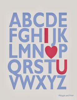 Giggle and Print: Alphabet I LOVE YOU! 2 FREE Printables!