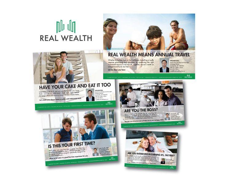 Real Wealth postcard series design
