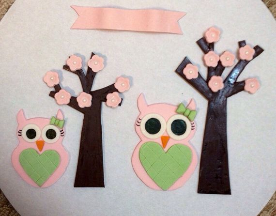 Fondant owls and trees for side of cake