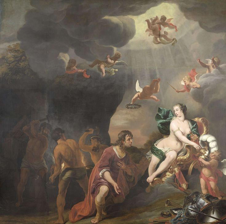 Aeneas ontvangt door voorspraak van Venus een nieuwe wapenrusting in de smidse van Vulcanus, Ferdinand Bol, 1655 - 1669