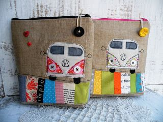VW appliquéd pouches: Buses, Ideas, Laptops Bags, Mittwoch, Vw Bus, Pencil Cases, Zippers Pouch, Vwbus, Vw Vans