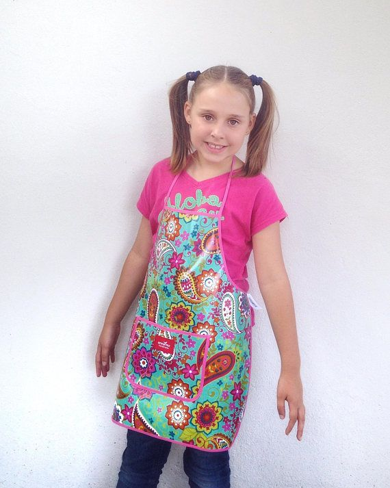 Girls Apron for Little Chef Child Size Apron for School Back