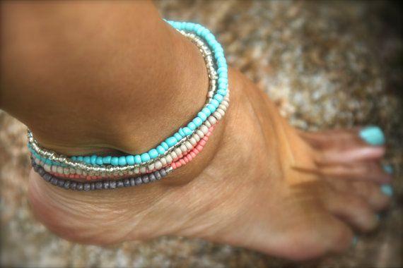 Coral Beaded Stretch Anklet Ankle Bracelet by MermaidBeadsJewelry