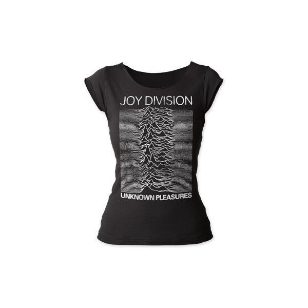 Joy Division Unknown Pleasures Scoop Neck T-Shirt ($30) ❤ liked on Polyvore featuring tops, t-shirts, raw edge t shirt, cotton tees, scoop neck tee, fitted scoop neck tee and fitted t shirts