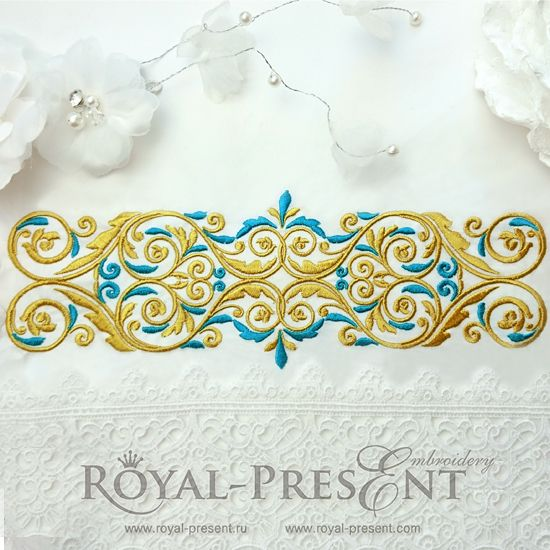 Machine Embroidery Design Vintage Gold with a blue - 4 sizes