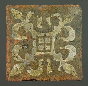 Medieval floor tile from Tintern Abbey. yes this is a real old piece of tile. i think you artsy ones out there could copy this exactly, or make up your own, stencil might help. but its mostly about the patina. get that down and your set.