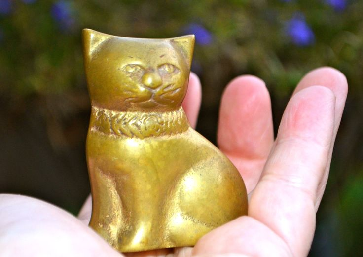 Brass Cat Bold and Beautiful Brass Cat Kitten Figurine in Wonderful Warm Patina of Aged Antiqued Genuine Solid  Brass by StudioVintage on Etsy