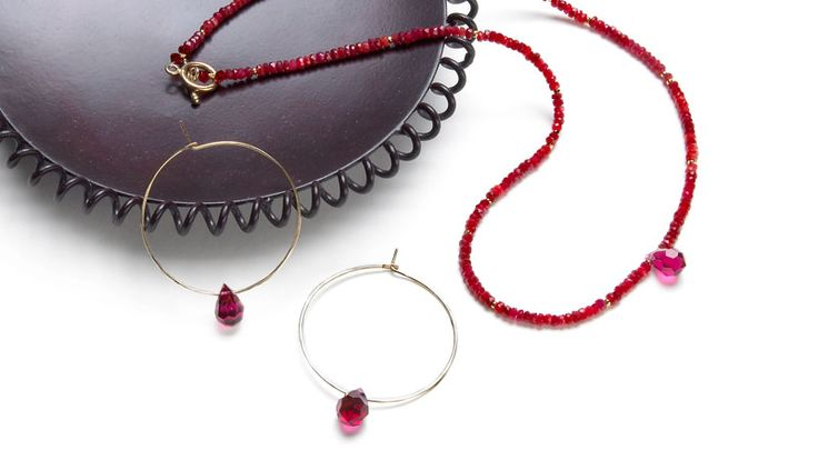 July Birthstone: Ruby necklace and earrings