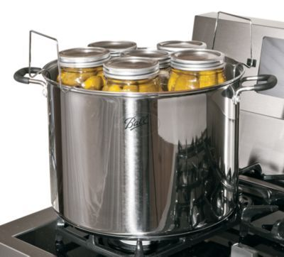 Ball Stainless Steel Water-Bath Canner Great for large-batch processing Holds up to seven quart jars Chrome-plated canning rack Silicone-covered handles