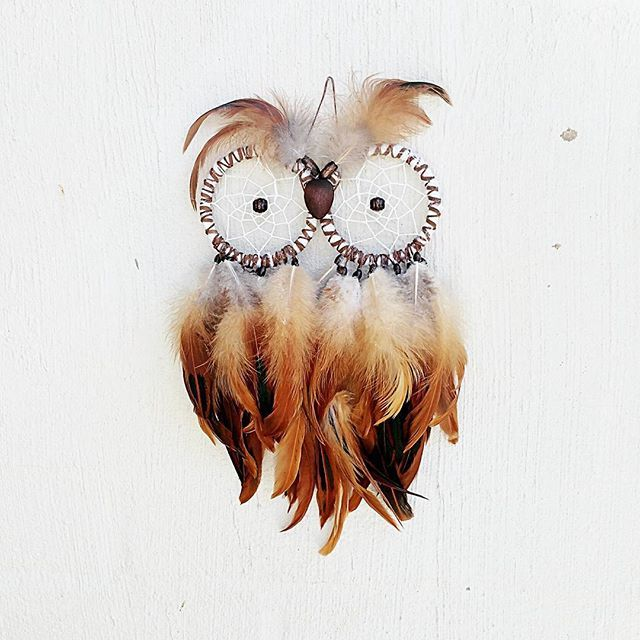 """""""Let the spirit of the owl guide you too your greatness"""" I created this lil guy awhile ago an thought i would share his awesomeness with you all #owldreamcatcher #owl #dreamcatcher #spiritanimal #feathers #hoothoot"""