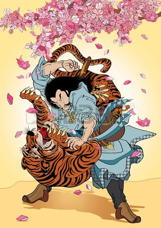 vector illustration  Graphic Tattoo Japanese Style Japan flower Samurai Tiger