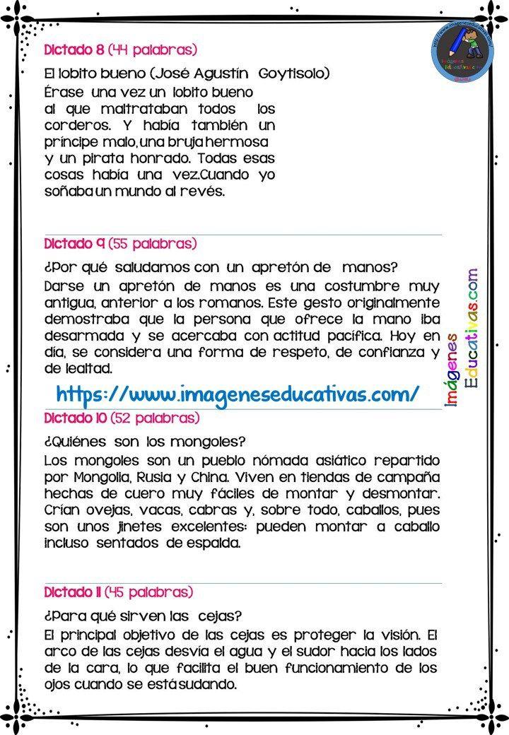 30 DICTADOS PARA PRIMARIA 1º 2º Y 3º CICLO (3 | escuela | Dictados ...