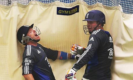 England's Ian Bell and Craig Kieswetter share a joke during the indoor-net session at Old Trafford.