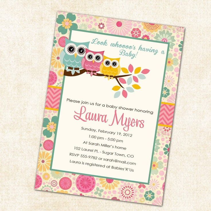 owl baby shower invitations with owls, turquoise pink and yellow, digital, printable file (item1352). $13.00, via Etsy.