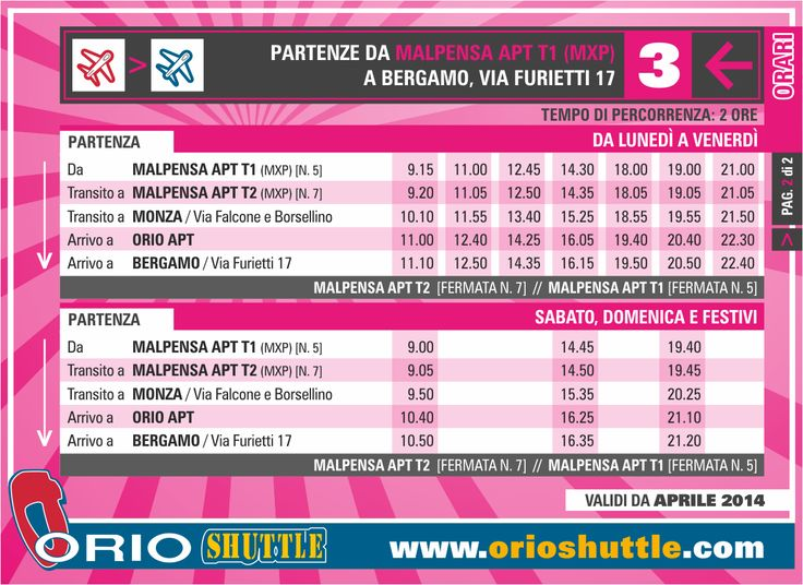 New timetable Line 3 Malpensa > Monza > Orio al Serio APT/Bergamo (from 1st April 2014)