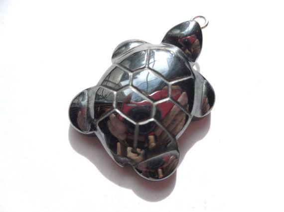 Carved Hematite Tortoise Turtle Pendant 31x21mm by radrockmama