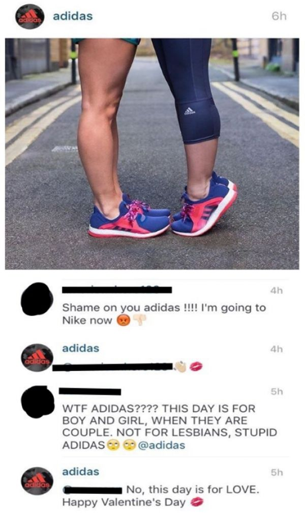 People getting pissed at Adidas for using a lesbian couple in their post for Valentines Day