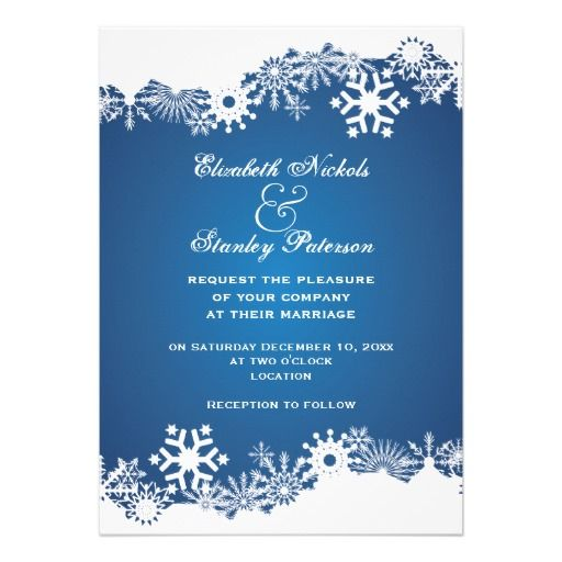285 best Winter Snowflake Wedding Invitations images on Pinterest