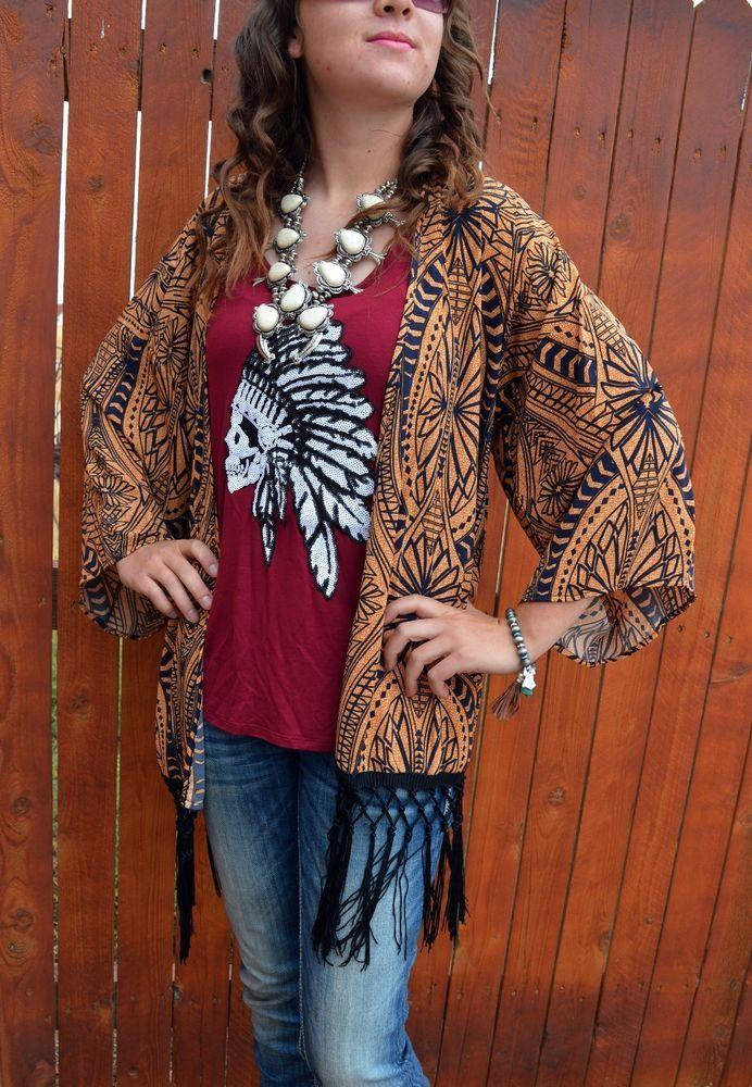 Cowgirl Kimono Cardigan Fringe AZTEC Tribal NWT Western BOHO Gypsy LARGE  #auditions #cardigantopperkimono