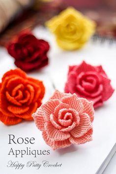 Ganchillo rosa PATRÓN ganchillo Flor apliques por HappyPattyCrochet