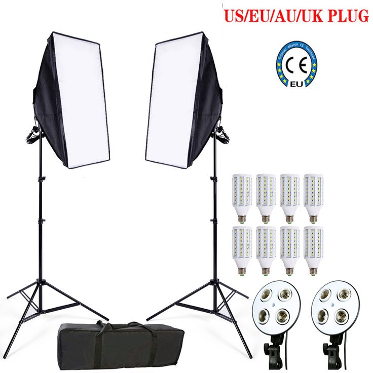 check price 8pcs 24w led e27 bulb photo stuido soft box set video lighting kit flash softbox reflector #led #light #box