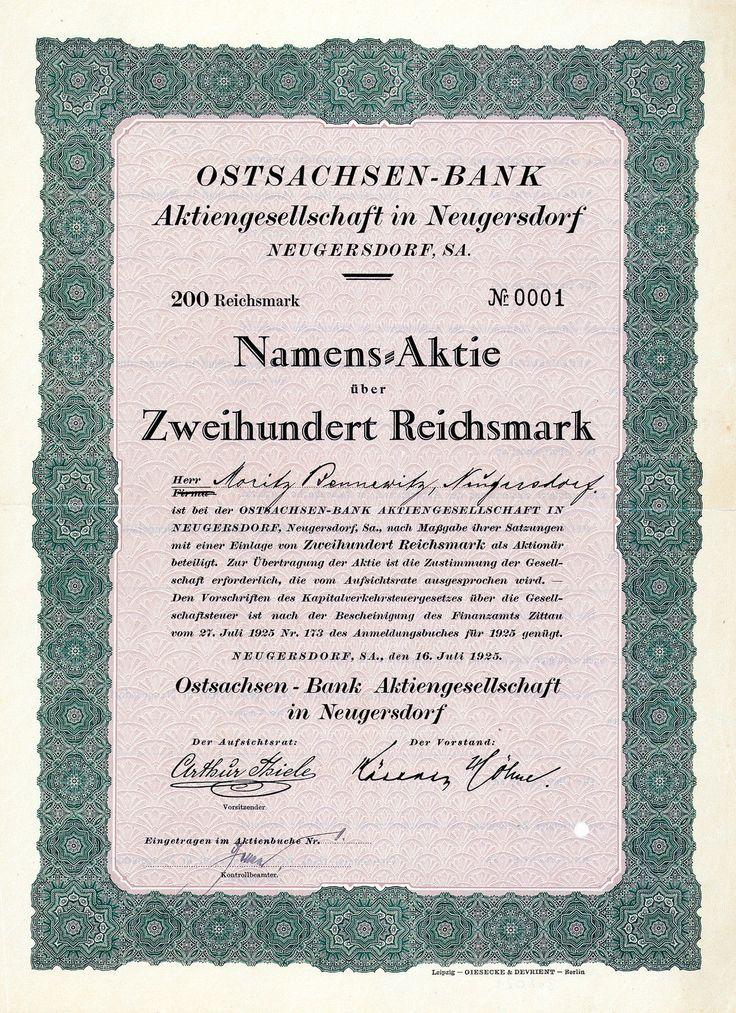 Ostsachsen-Bank AG, Neugersdorf i.Sa., 1925, Aktie Nr. 1 !!!
