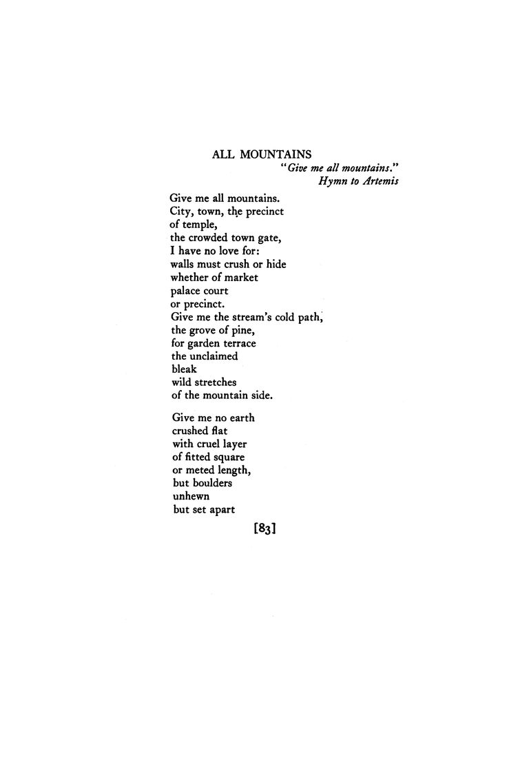 All Mountains by H. D. | Poetry Magazine