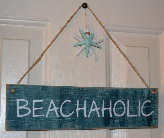 Hand Pained Beach Decor, Wooden Beach Signs, Beach A Holic, Perfect Beach Decor for the Beach Lover