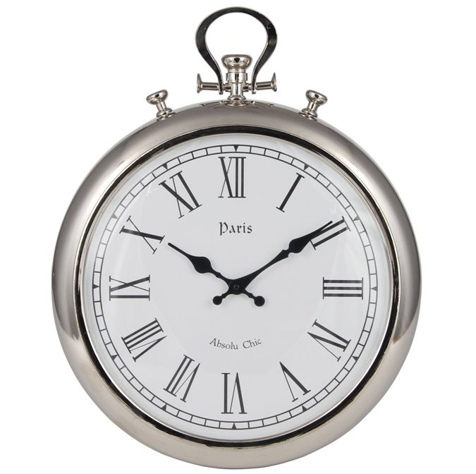 Beautiful Silver Stop Watch Statement Wall Clock Shabby