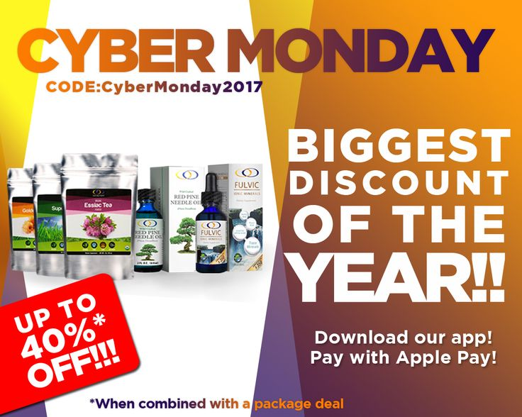 The ad says it all. It's the biggest #cybermonday sale ever! Don't forget to download the app and enjoy the best in #organics and #organicsupplments.