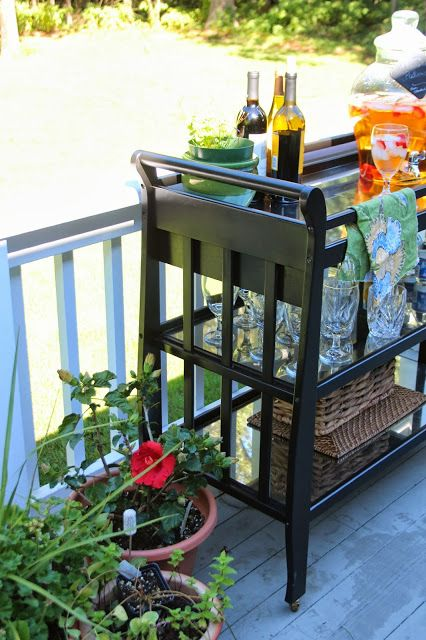 A DIY Beverage Cart...from an old changing table & casters added to the legs of the cart.