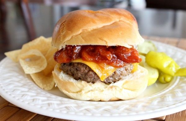 Steakhouse Cheddar Burger with Warm Bacon Onion BBQ Sauce