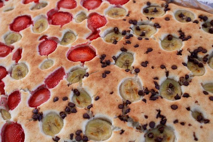 Here's what you'll need: * Pancake batter mix (and any accompanying ingredients it calls for on the box) * Pam cooking spray * 1 sliced banana, 1 cup of sliced strawberries, 1/4 cup of chocolate chips (or any other sliced fruits or nuts you'd like to have in your