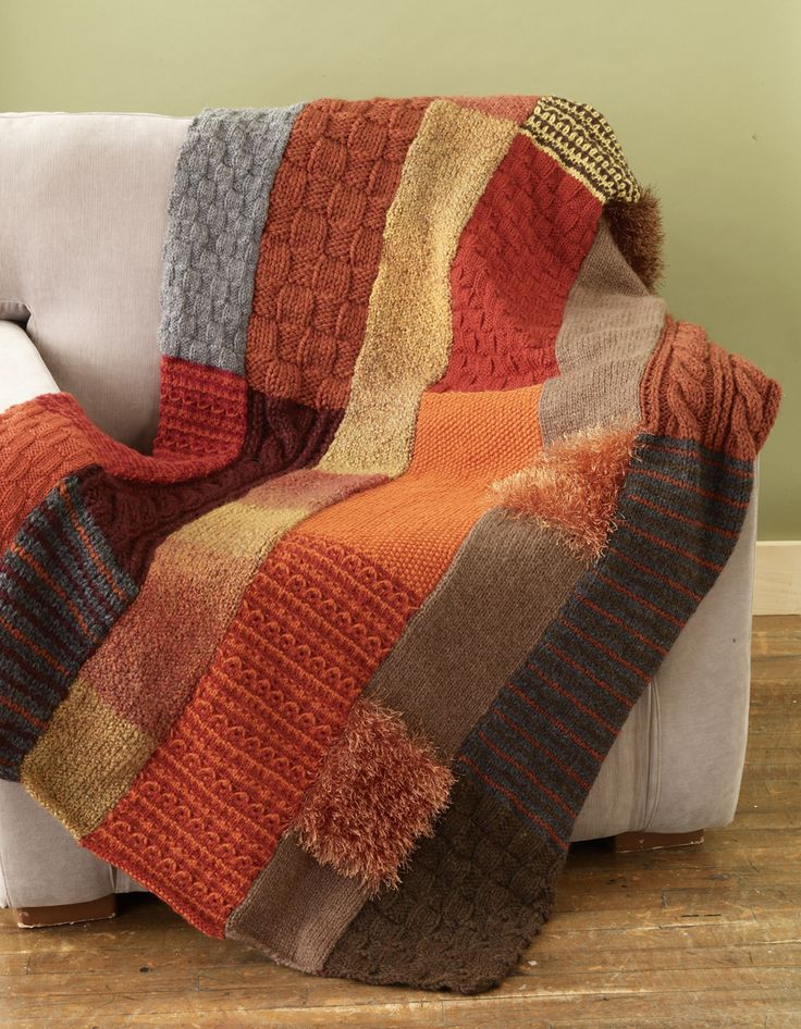 Free scarf throw pattern from Lion Brand. Great pop of color in any room.