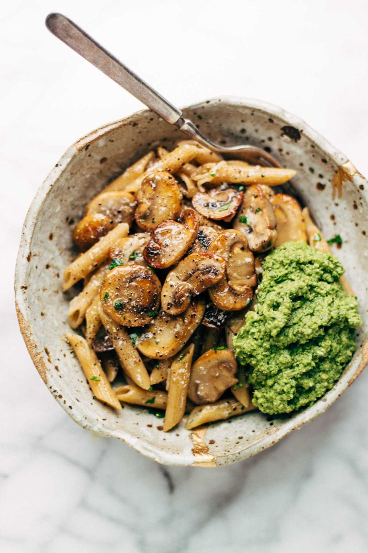 Simple Mushroom Penne with Walnut Pesto - made with easy ingredients like Parmesan cheese, whole wheat penne, mushrooms, garlic, and butter. LOVE this one! Vegetarian. | pinchofyum.com