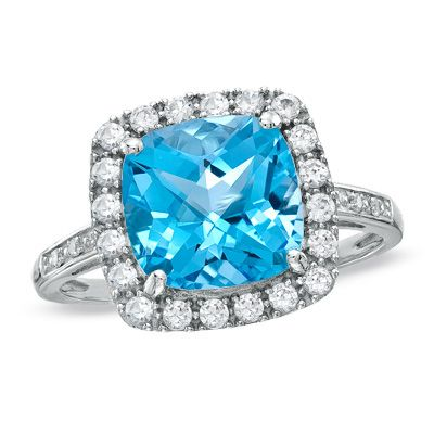Cushion-Cut Blue Topaz and Lab-Created White Sapphire Ring in 10K
