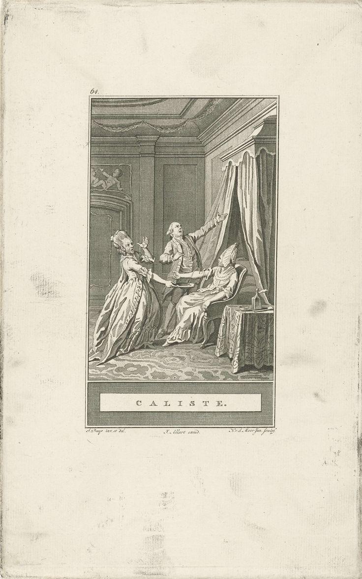 Noach van der Meer (II) | Aderlating van Caliste, Noach van der Meer (II), Johannes Allart, 1777 | Dr arts van Caliste kijkt van schrik omhoog, nadat hij een fout heeft gemaakt bij het aderlaten van Caliste. Het bloed loopt uit haar arm in een schaal, die wordt opgehouden door een vrouw.