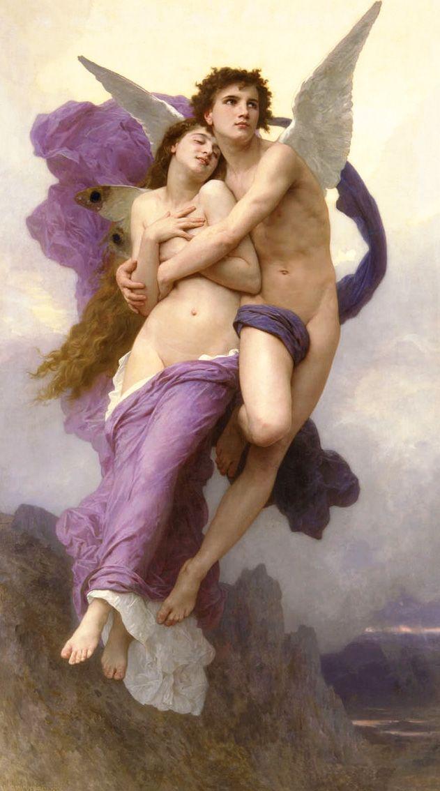 PSIQUE Y CUPIDO. La gran belleza de Psique era famosa en todo el reino y ningún hombre quería desposarla por miedo a contrariar a Afrodita. Los monjes del templo ordenaron llevarla al bosque, atarla a una roca y que el horrible monstruo se ocupara de ella. Pero el viento Céfiro se la llevó volando, por orden de Eros que se había enamorado de ella. WILLIAM ADOLPHE BOUGUEREAU. El rapto de Psique. 1895.