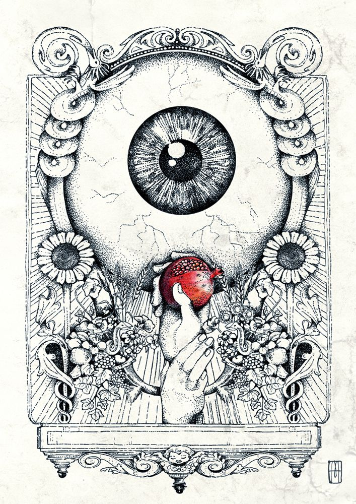 Proserpina- ink- Ilustración de Martillo