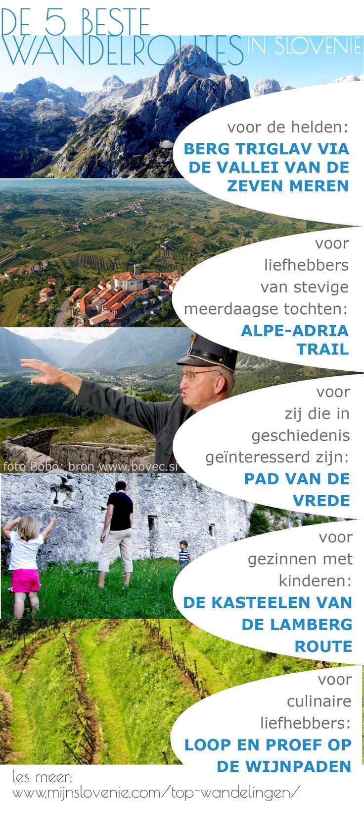 In het slechts 20.000 vierkante kilometer grote grondgebied van Slovenië vind je maarliefst 10.000 kilometer aan wandelroutes. Deze zijn de 5 beste wandelroutes in de Sloveense bergen en heuvels ...  / #Slovenië #wandelen / @MijnsLOVEnie / mijnslovenie.com/top-wandelingen/
